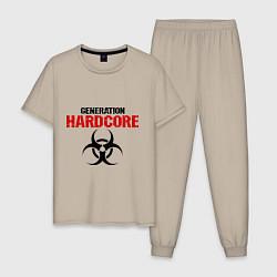 Пижама хлопковая мужская Generation Hardcore цвета миндальный — фото 1