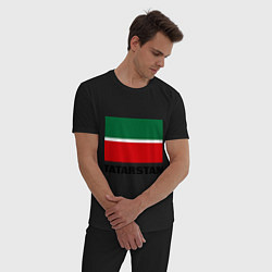 Пижама хлопковая мужская Флаг Татарстана цвета черный — фото 2