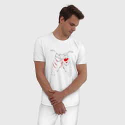 Пижама хлопковая мужская TOP Skeleton цвета белый — фото 2