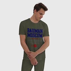 Пижама хлопковая мужская Bauman STU цвета меланж-хаки — фото 2