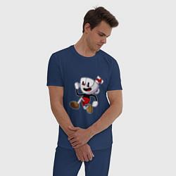 Пижама хлопковая мужская Cuphead Run цвета тёмно-синий — фото 2
