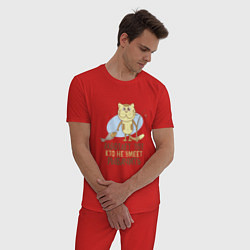 Пижама хлопковая мужская Кто не умеет рыбачить цвета красный — фото 2