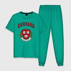 Пижама хлопковая мужская Harvard university цвета зеленый — фото 1