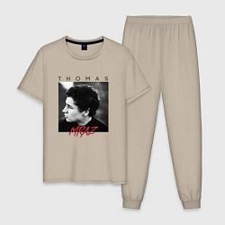 Пижама хлопковая мужская Thomas Mraz цвета миндальный — фото 1