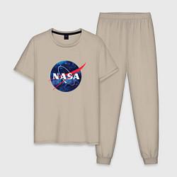 Пижама хлопковая мужская NASA: Cosmic Logo цвета миндальный — фото 1