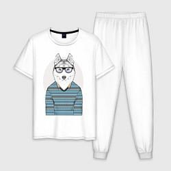 Пижама хлопковая мужская Хаски в свитере цвета белый — фото 1
