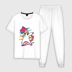 Пижама хлопковая мужская Единорог кидает даб цвета белый — фото 1