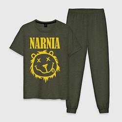 Пижама хлопковая мужская Narnia цвета меланж-хаки — фото 1