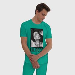 Пижама хлопковая мужская Lil Peep: Black Style цвета зеленый — фото 2