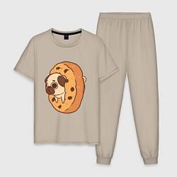 Пижама хлопковая мужская Мопс-печенька цвета миндальный — фото 1