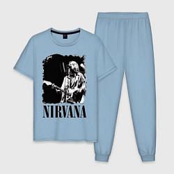 Пижама хлопковая мужская Black Nirvana цвета мягкое небо — фото 1