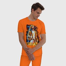 Пижама хлопковая мужская Cobain Art цвета оранжевый — фото 2