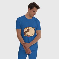 Пижама хлопковая мужская Мопс-свинка цвета синий — фото 2
