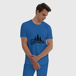 Пижама хлопковая мужская Siberia цвета синий — фото 2