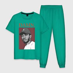 Пижама хлопковая мужская Kendrick Lamar: DAMN цвета зеленый — фото 1