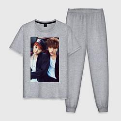 Пижама хлопковая мужская Юнги и Джин: БТС цвета меланж — фото 1