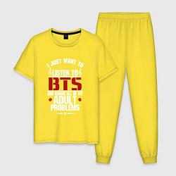 Пижама хлопковая мужская I just want to listen BTS цвета желтый — фото 1