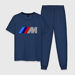 Пижама хлопковая мужская BMW M цвета тёмно-синий — фото 1