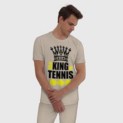 Пижама хлопковая мужская King of tennis цвета миндальный — фото 2