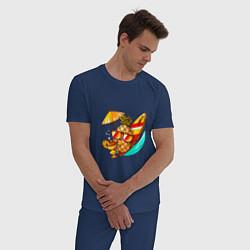 Пижама хлопковая мужская Ананас на отдыхе цвета тёмно-синий — фото 2