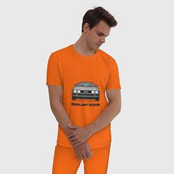 Пижама хлопковая мужская DeLorean цвета оранжевый — фото 2