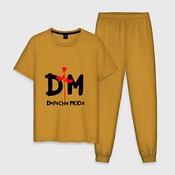Пижама хлопковая мужская Depeche Mode Rose цвета горчичный — фото 1