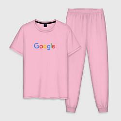 Пижама хлопковая мужская Google цвета светло-розовый — фото 1