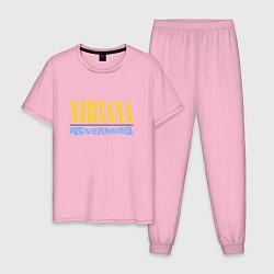 Пижама хлопковая мужская Nirvana Nevermind цвета светло-розовый — фото 1