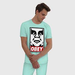 Пижама хлопковая мужская OBEY Face цвета мятный — фото 2