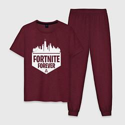 Пижама хлопковая мужская Fortnite Forever цвета меланж-бордовый — фото 1