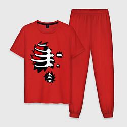 Пижама хлопковая мужская Зомби-скелет цвета красный — фото 1