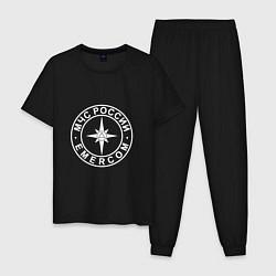 Пижама хлопковая мужская МЧС России цвета черный — фото 1