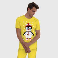 Пижама хлопковая мужская Пингвин в снегу цвета желтый — фото 2