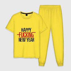 Пижама хлопковая мужская Happy fucking New Year цвета желтый — фото 1