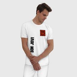 Пижама хлопковая мужская Bon Jovi Style цвета белый — фото 2