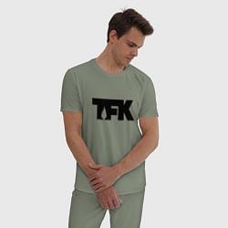 Пижама хлопковая мужская TFK: Black Logo цвета авокадо — фото 2
