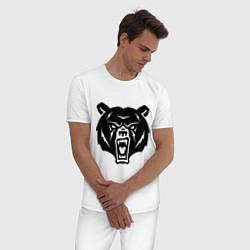 Пижама хлопковая мужская Ярость медведя цвета белый — фото 2