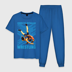 Пижама хлопковая мужская Greco-roman wrestling цвета синий — фото 1