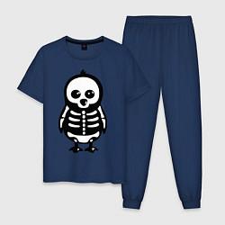 Пижама хлопковая мужская Рентген пингвина цвета тёмно-синий — фото 1