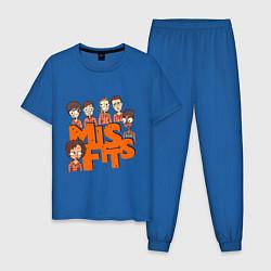 Пижама хлопковая мужская MisFits Heroes цвета синий — фото 1