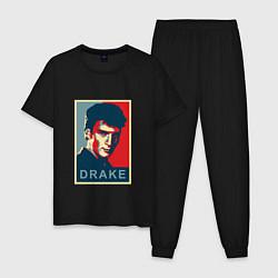 Пижама хлопковая мужская Drake цвета черный — фото 1