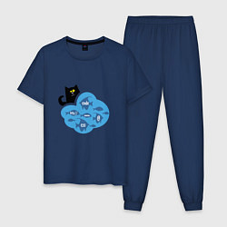 Пижама хлопковая мужская Кот программиста цвета тёмно-синий — фото 1