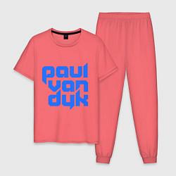 Пижама хлопковая мужская Paul van Dyk: Filled цвета коралловый — фото 1