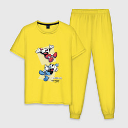 Пижама хлопковая мужская Cuphead Friends цвета желтый — фото 1