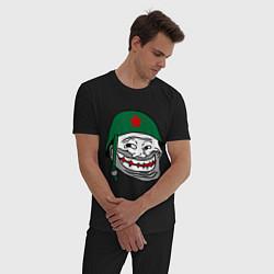 Пижама хлопковая мужская Троллфэйс в шлеме цвета черный — фото 2