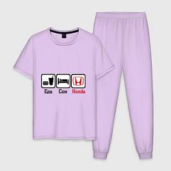 Пижама хлопковая мужская Главное в жизни - еда, сон, honda цвета лаванда — фото 1