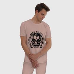 Пижама хлопковая мужская Армейский снайпер цвета пыльно-розовый — фото 2