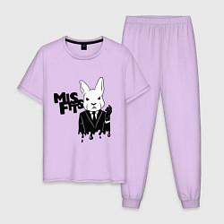 Пижама хлопковая мужская Misfits Rabbit цвета лаванда — фото 1