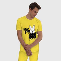 Пижама хлопковая мужская Misfits Rabbit цвета желтый — фото 2