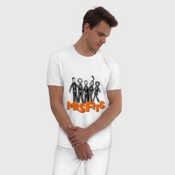 Пижама хлопковая мужская Misfits Skeletons цвета белый — фото 2